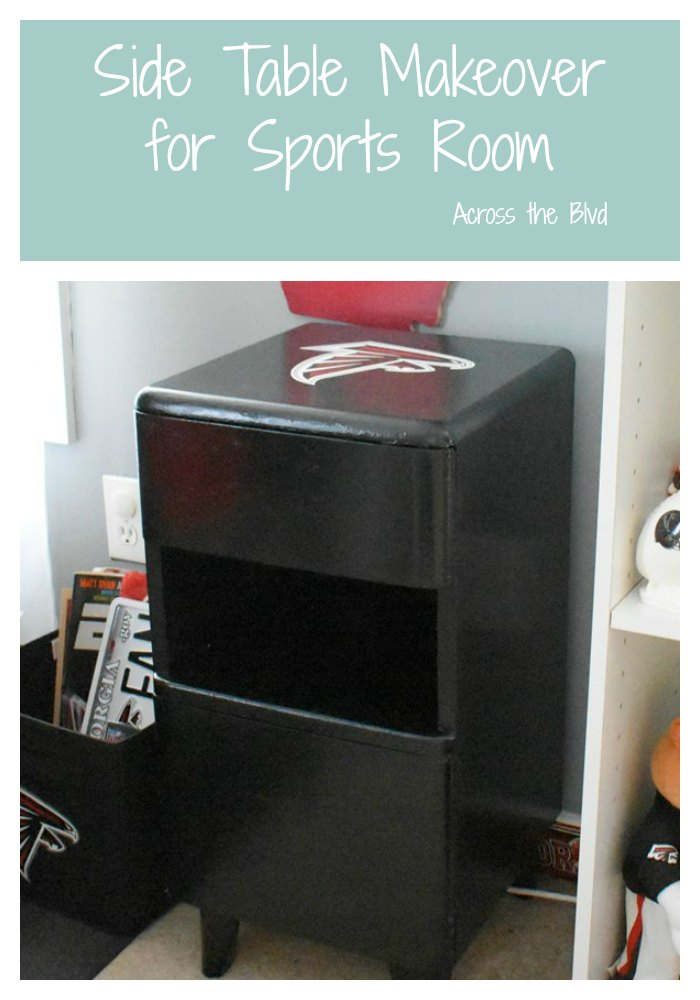 Side Table Makeover for a Sports Room with Atlanta Falcons vinyl decal on top in sports room