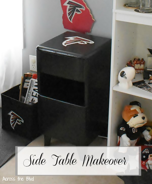 Side Table Makeover for a Sports Room black paint and Atlanta Falcons vinyl decal on top