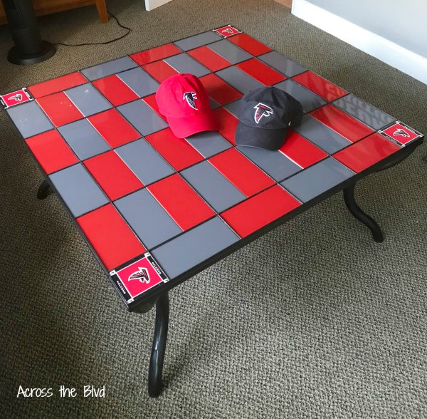 The Start of Football Season Brings Memories and Fun tiled table using red, gray, and falcons tiles