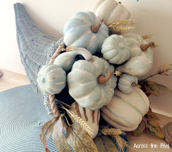 Chalk Painted Pumpkins in Blue Cornucopia