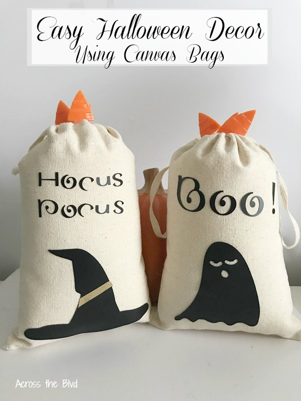 Easy Halloween Decor Using Canvas Bags