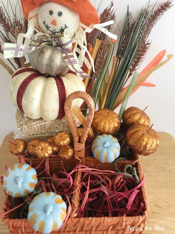 fall basket made using dollar store craft items