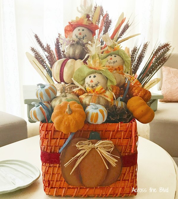 Fall Wicker Basket with dollar store fall craft items
