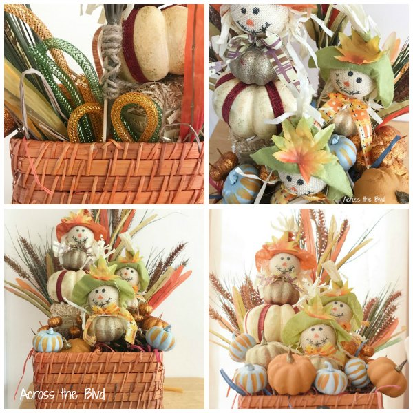 collage photo of fall basket made using dollar store items
