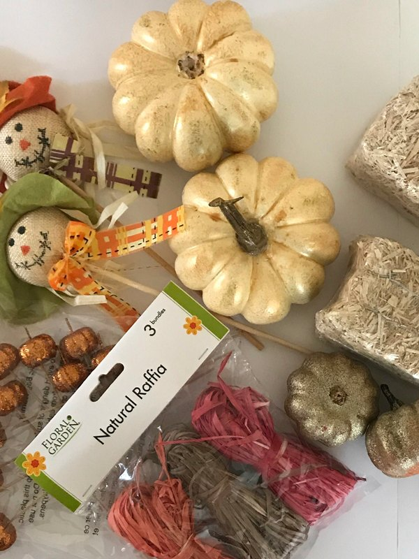 Fall craft items for a fall basket