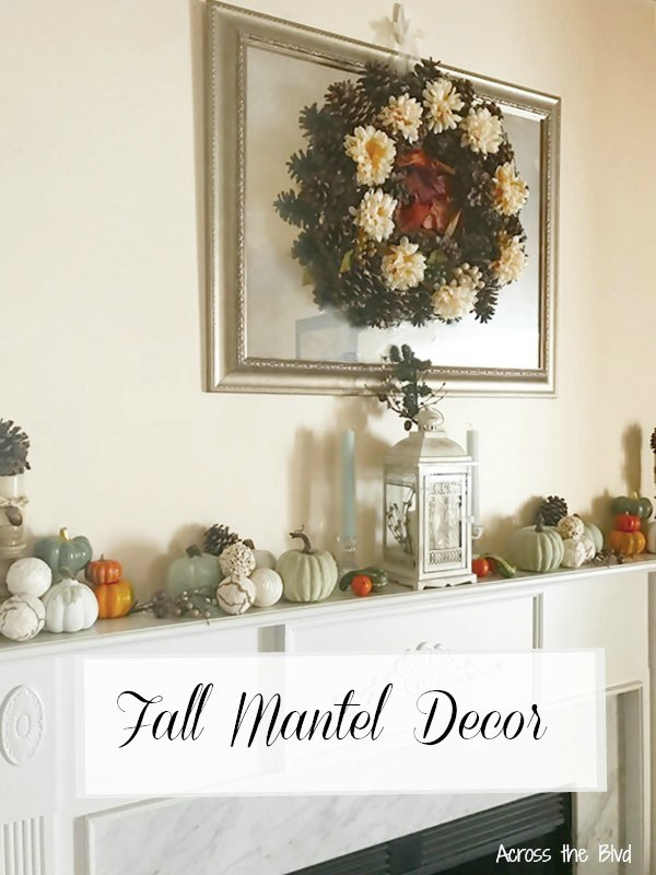 Fall Mantel Decor and Pine Cone Wreath