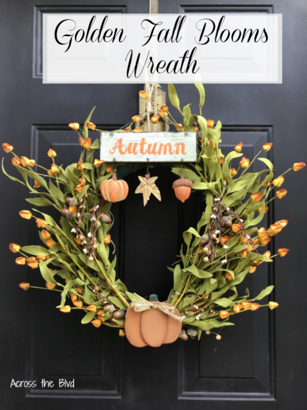 Golden Fall Blooms Wreath