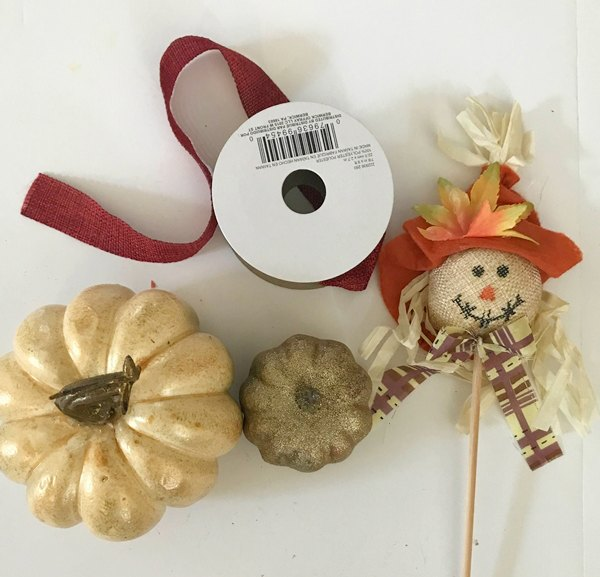 Pumpkin, ribbon, scarecrow picks