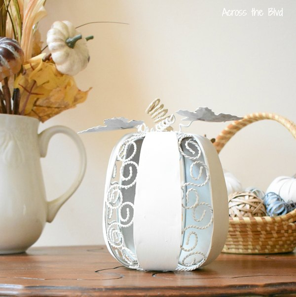 Farmhouse Metal Pumpkin Makeover Painted White with paper floral wire for the stem