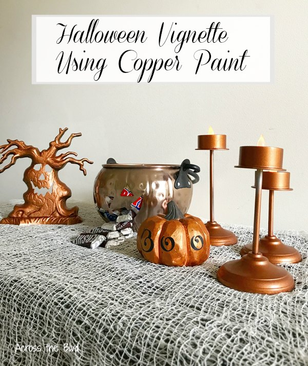 Halloween Vignette Using Copper Decor Items