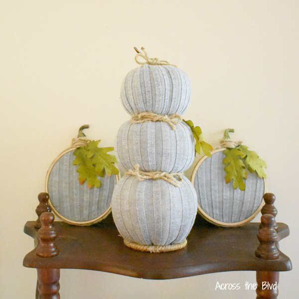 Gray Pumpkin Topiary with matching embroidery hoop pumpkins