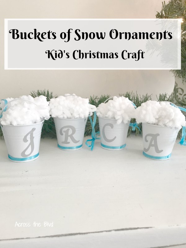 Buckets of Snow Ornaments with initials