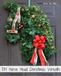 DIY Horse Head Christmas Wreath on door