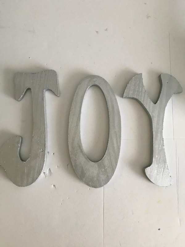 JOY silver painted wood letters