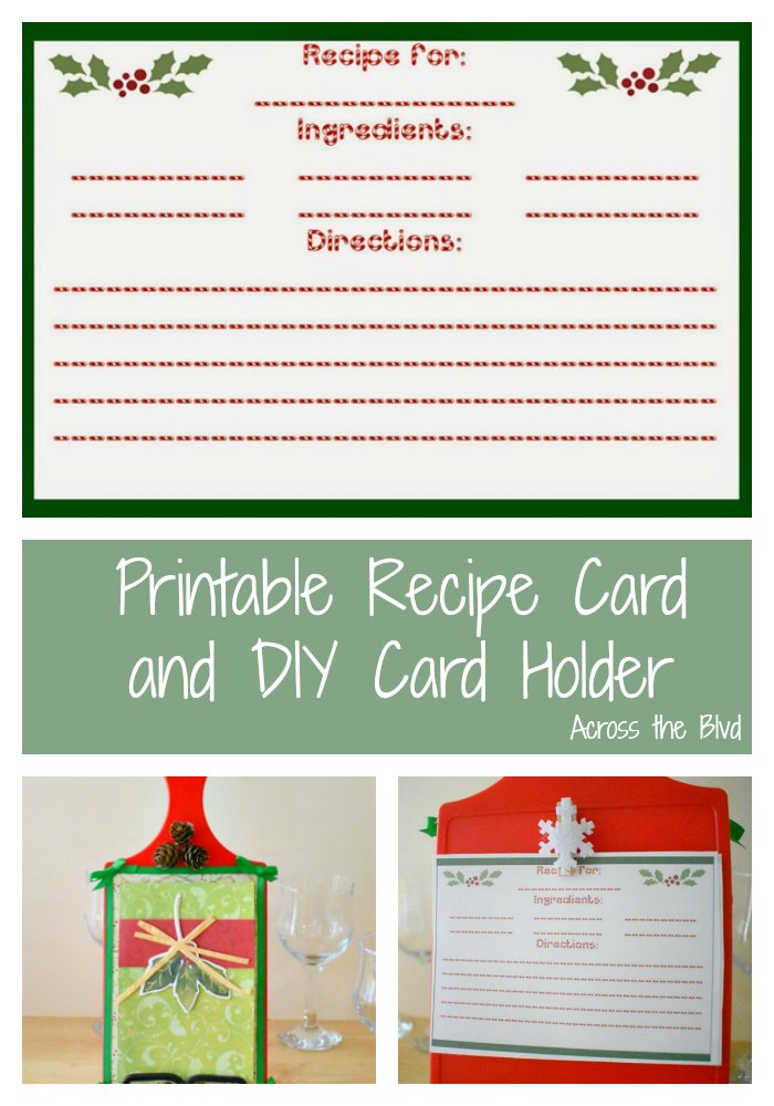 Printable Recipe Card and DIY Card Holder