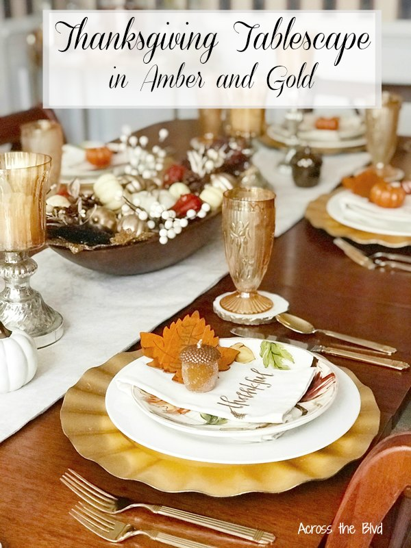 Thanksgiving Tablescape in amber and gold with doughbowl centerpiece