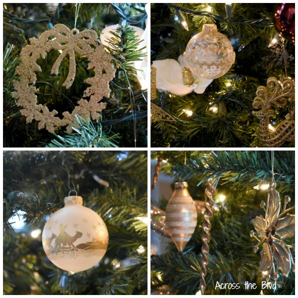 Burgundy and Gold Christmas Ornaments Collage