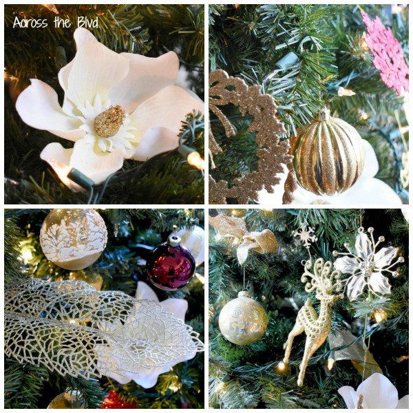 Burgundy and Gold Christmas Tree Ornaments Collage Photo