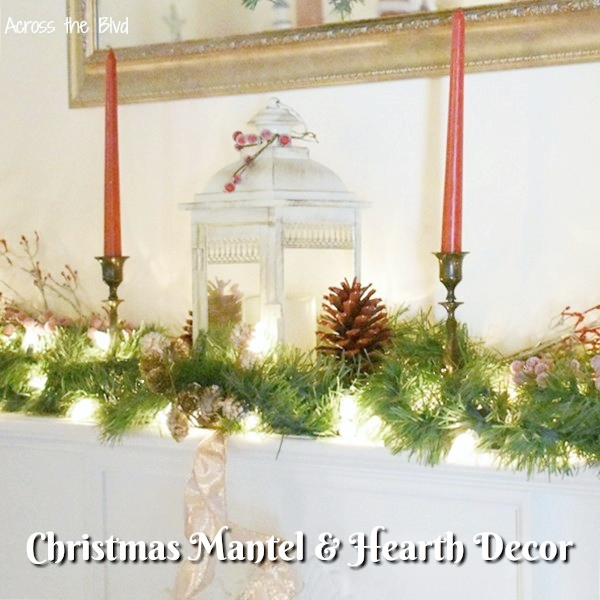 Rose Gold Christmas Mantel and Hearth Decor
