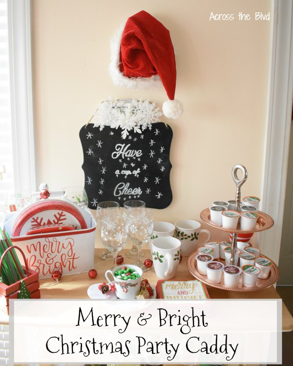 Merry and Bright Christmas Party Caddy on Wine Rack with cups, glasses, straws