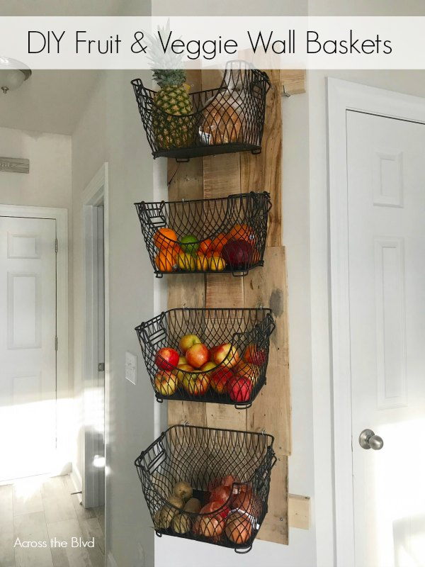 DIY Fruit and Veggie Wall Basket Holder Made From a Wood Pallet