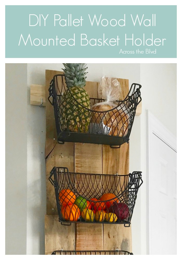 DIY Pallet Wood Wall Mounted Basket Holder
