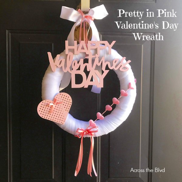 Pretty in Pink Valentine's Day Wreath on black door