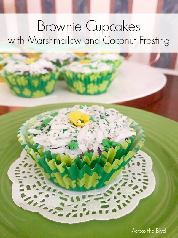 Brownie Cupcakes with Marshmallow and Coconut Frosting in St. Patrick's Day liner