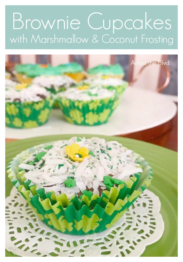 Brownie Cupcakes for St. Patrick's Day with Marshmallow and Coconut Frosting on Green Plate