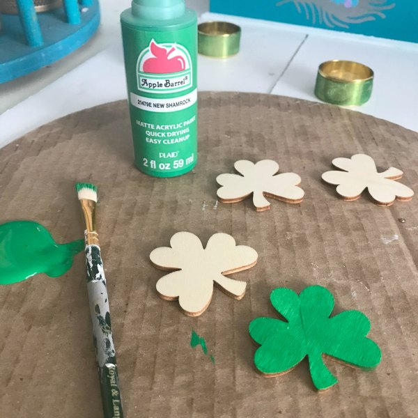 craft wood shamrocks painted green