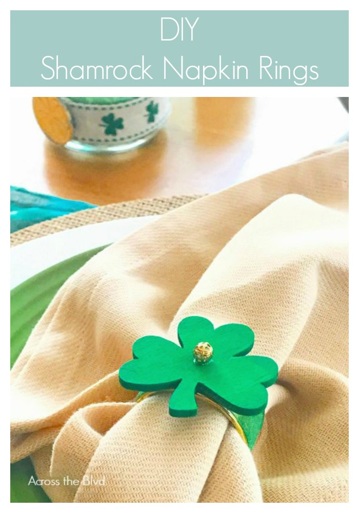 DIY Shamrock Napkin Rings on Tan Napkin