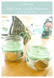 Small Green Mason Jar Candles for St. Patrick's Day with Ribbon and Coin