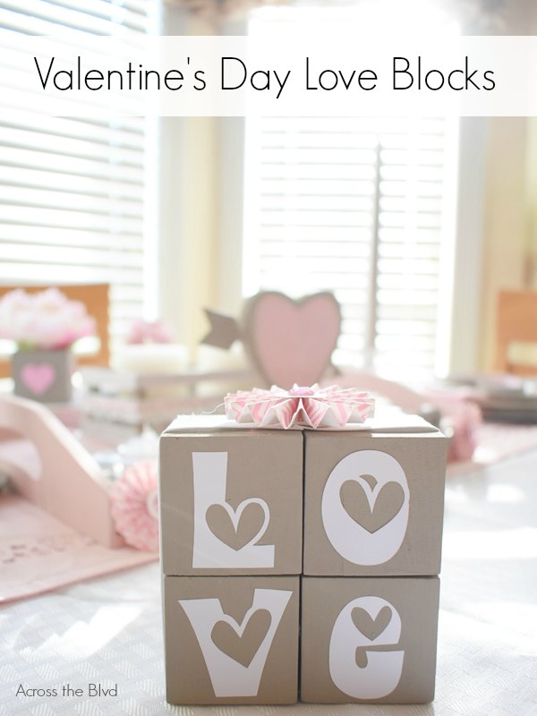 Valentine's Day Love Blocks Gray Cube on table