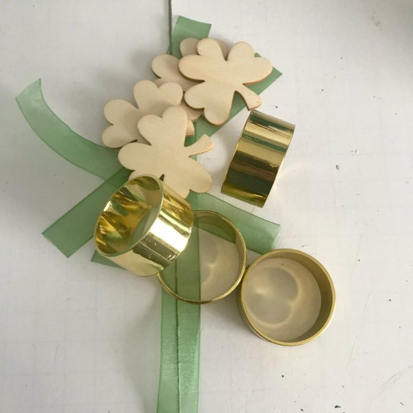 plastic gold napkin rings, craft shamrocks, green ribbon for DIY Shamrock Napkin Rings