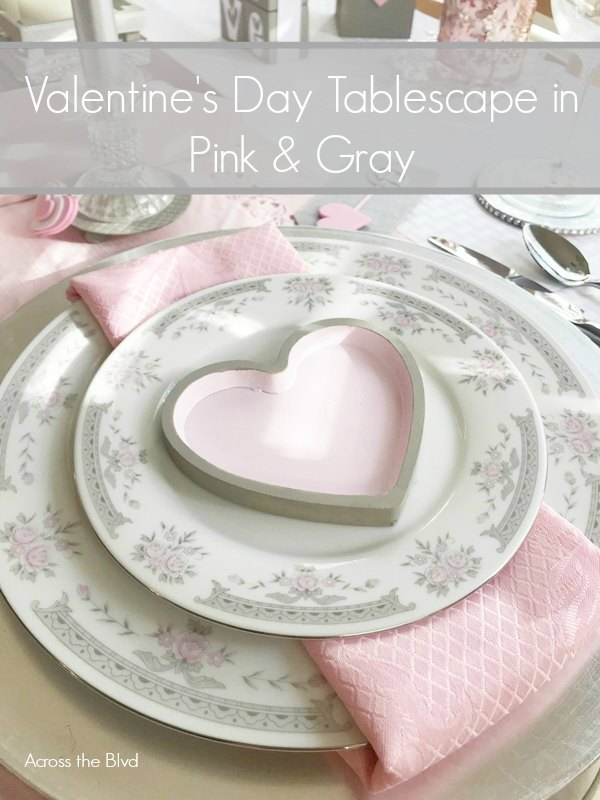 Valentine's Day Tablescape in Pink and Gray
