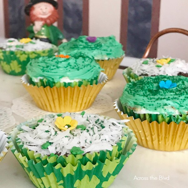 Brownie Cupcake with Marshmallow and Green Frosting for St. Patrick's Day