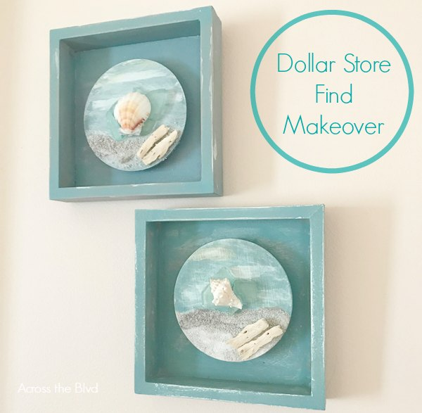 Coastal Wall Art Small Boxes with sea shell, sand, drift wood, and sea glass