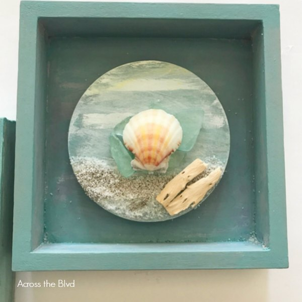coastal wall decor box with sand sea shell sea glass and drift wood in small box