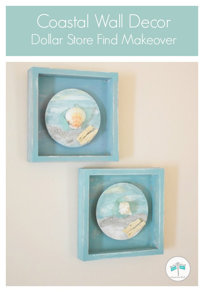 Coastal Wall Decor Small Boxes with sand, shells, and sea glass