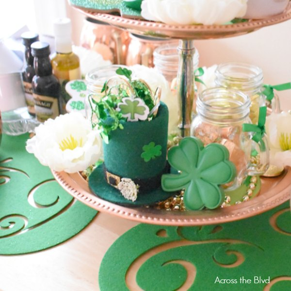 DIY Leprechaun Hat on Copper Tray with shamrocks and mini steins