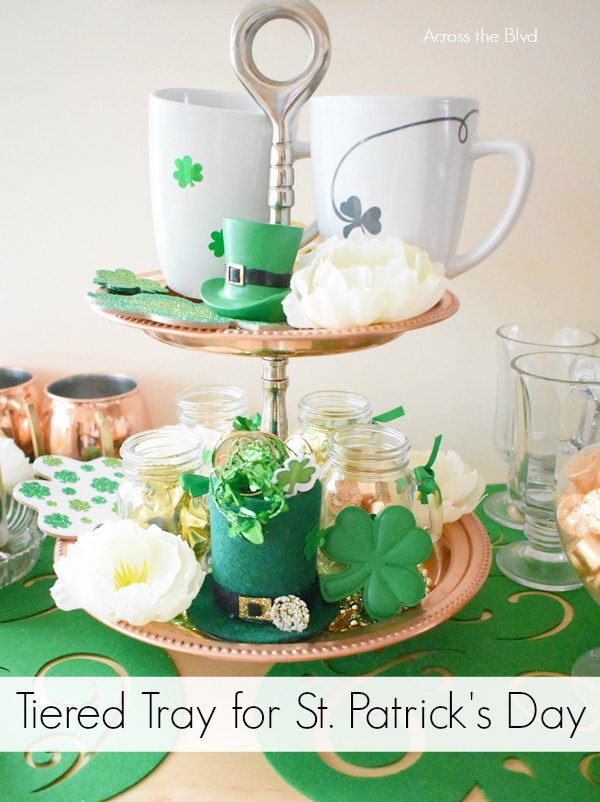 Copper Tiered Tray with St. Patrick's Day Mugs and decor