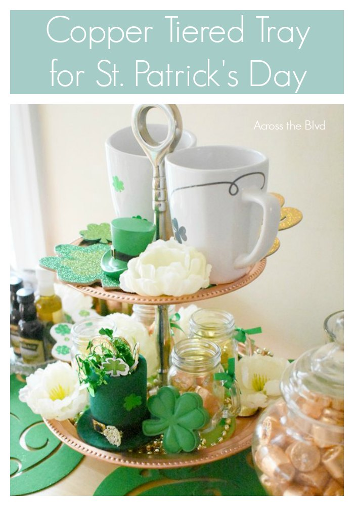 St. Patrick's Day Tiered Copper Tray with mugs, shamrocks, flowers