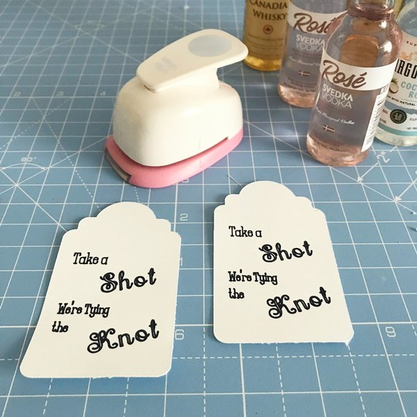 mini bottle tags and hole punch