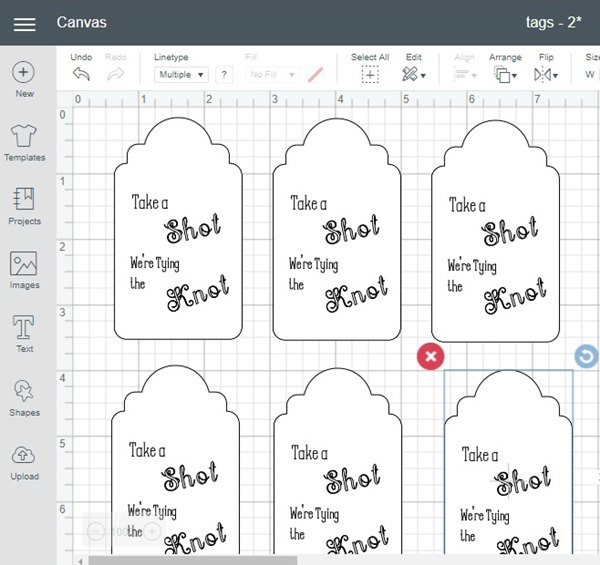 Mini Bottle Tags in Cricut Design Space