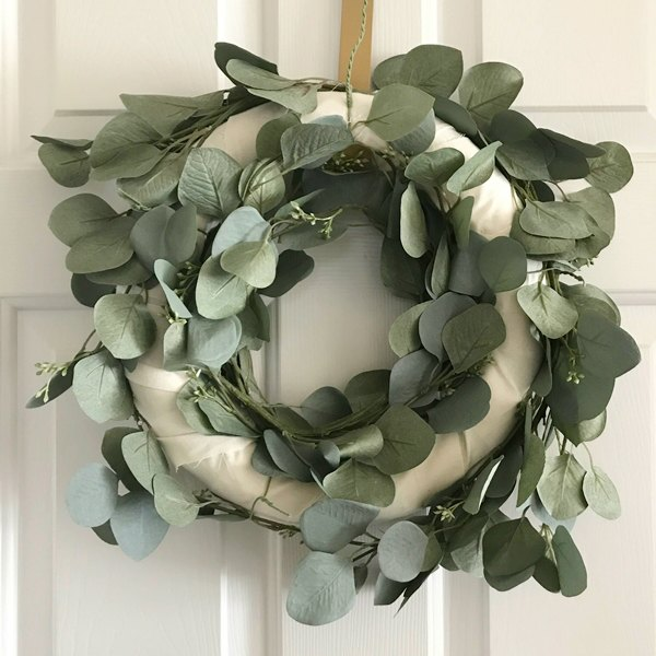 faux eucalyptus wreath with two layers of stems