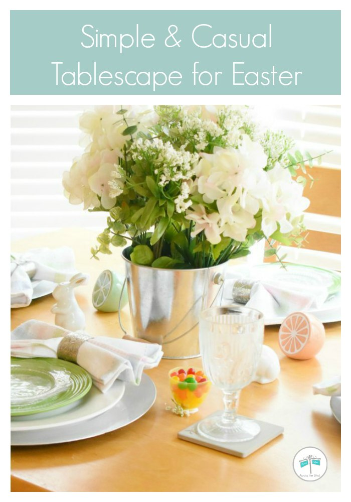 Casual Easter Tablescape with flowers in metal pail