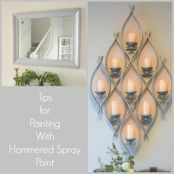 wall mounted pillar candle holder and mirror painted with hammered silver spray paint
