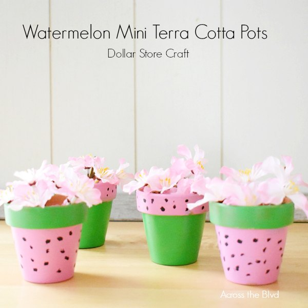 set of four mini terra cotta pots with watermelon designs