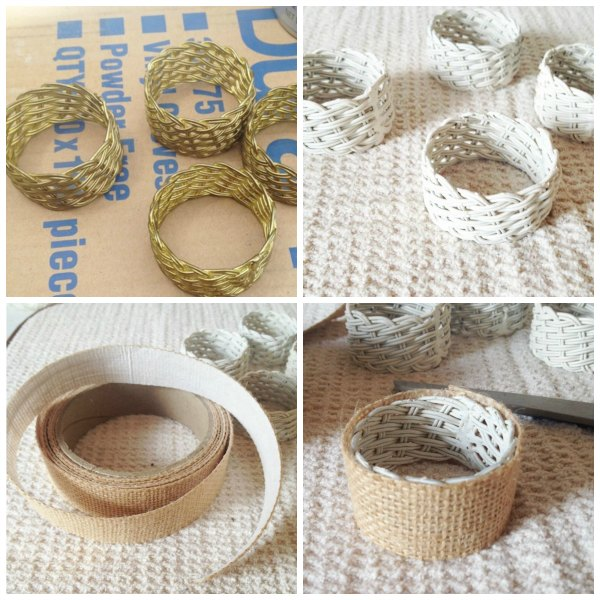 collage photo of gold napkin rings painted white with burlap ribbon
