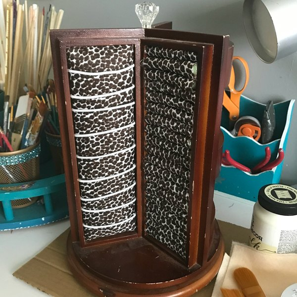 jewelry stand brown with leopard print fabric